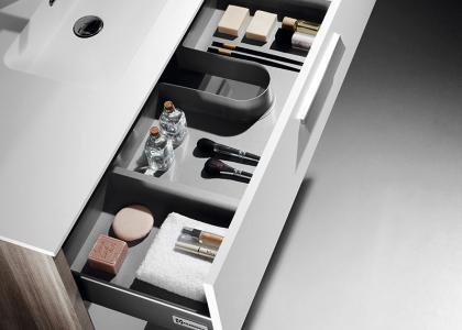 Detalle cajón metálico Roma fresno blanco